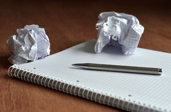 Writing pad with scrunched up paper